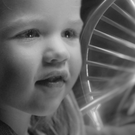 Young Girl with DNA Helix